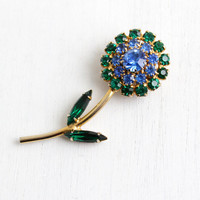SALE - Vintage Rhinestone Flower Brooch - 1960s Blue & Green Glass Gold Tone Costume Jewelry Pin