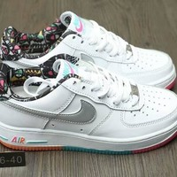 """Nike Air Force 1 "" Women Casual Fashion Rainbow Graffiti Plate Shoes Sneakers"