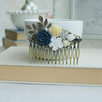Something Blue Wedding Large Comb. Navy Blue Rose, Ivory, Rose Brass Leaf Veil Clip. Bridal Wedding Hair Comb. Blue and White Rustic Wedding