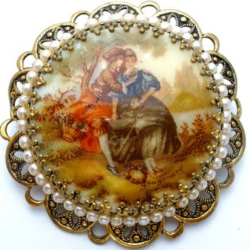 Victorian Scene Courting Couple Brooch Pin by Fragonard