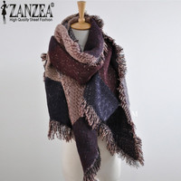 2016 European Autumn Winter Women Fashion Blanket Scarf Female Cashmere Pashmina Wool Scarf Shawl Warm Thick Scarves Cape Wraps