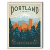 Americanflat Portland Oregon Vintage Advertisement on Wrapped Canvas | Wayfair