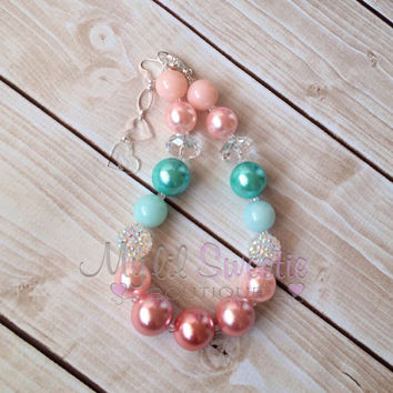 Mint, peach, coral chunky necklace, girls jewelry, wedding jewelry, children's necklace, bubblegum jewelry, bubblegum necklace