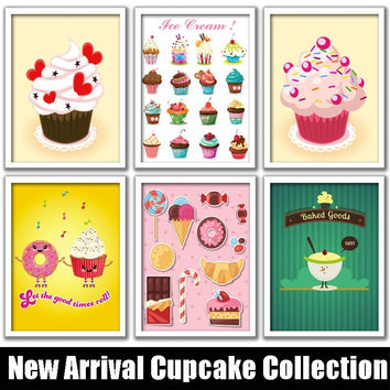Cupcake Lovers Retro Print Pop Art Posters Matt Paper Vintage Wall Decor for Cafes Bakery Restaurant Diners Ice Cream Shop Wall Donut Store Art Decor 23x33cm 43x33cm