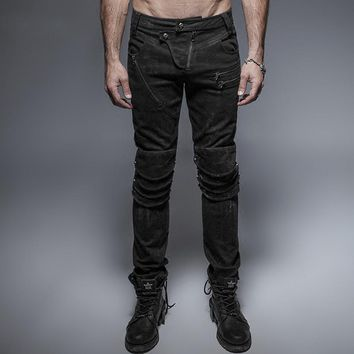 Steampunk Gothic Armor Knee Man Jeans Punk Rock Black Wash Pants Casual Long Trousers