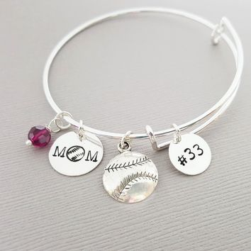 Baseball Mom Bangle Bracelet - Sports Bracelet - Personalized Adjustable Silver Bangle - Hand Stamped Swarovski Bracelet - Gift for Her