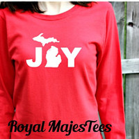 Michigan Joy Christmas Shirt, Long Sleeve Michigan Shirt, Mitten Shirt, Womens