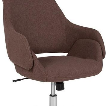 Marbella Home and Office Upholstered High Back Chair in Brown Fabric [CH-177275-BR-F-GG]