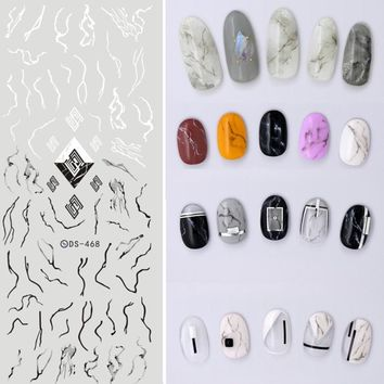 Water Transfer Nails Art Marble Sticker Mixed Styles White Flower Lace Nail Wraps Sticker Watermark Fingernails Decals Designs