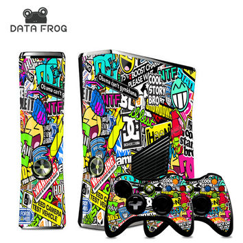 NEW STICKER BOMB Stickers Cover for Microsoft XBOX 360 Slim Decals Console and 2 Games Free Controller Skins - stickerbomb