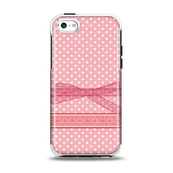 The Subtle Pink Polka Dot with Ribbon Apple iPhone 5c Otterbox Symmetry Case Skin Set
