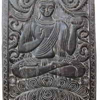 Budha Interiors Indian Wall Hanging Holding Alms Bowl Buddha Carved Wood Panels 36 X 48