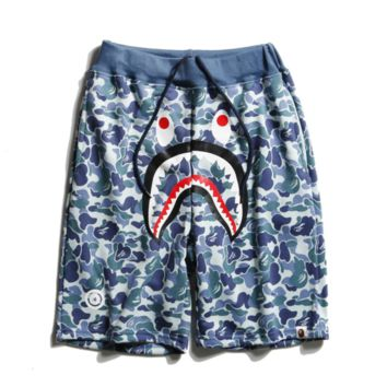 Bape Aape New style fashion camouflage shark casual shorts for men and women Blue
