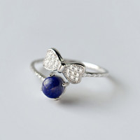 Natural Lapis Lazuli butterfly opening ring,925 sterling silver pearl ring, a perfect gift