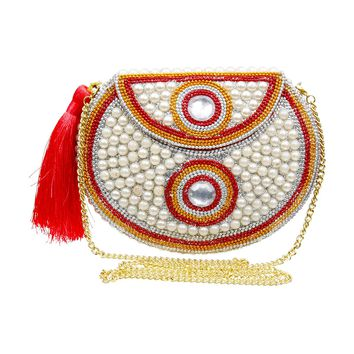 Brass Metal Hard Case Clutch with Red and Orange Beading, Pearl, Glitter, Crystals, and Tassel