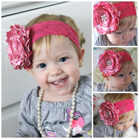 VALENTINE'S DAY Shades of pink silk flower pearls feathers pink stretch for newborn-toddler-child-girl