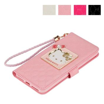 Fashion Women Girl Lanyard Hello Kitty Flip Wallet Stand Leather Case For apple iphone X 6 6s 7 8 plus With Card Holders Cover
