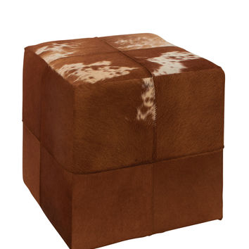 Fascinating Wood Leather Square Ottoman