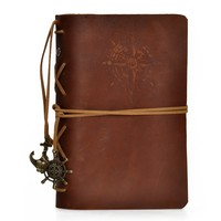 European Style Retro Handmade Refillable Leather Notebook Travelers Journal (Brown3)