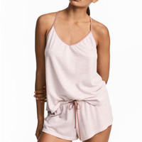 Pyjamas with cami and shorts - White/Striped - Ladies | H&M CA
