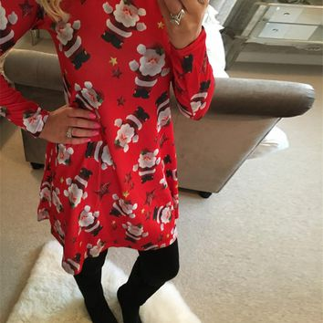 Women Christmas Dress  Winter Round Neck Long Sleeve Knee-length Dress Snowman Chocolate Print Casual Dresses Plus Size 5XL
