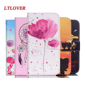 Coque For iphone 5 Case Luxury boy and girl Cartoon Painting PU Flip Leather Case For apple iPhone 5 5S cover mobile phone shell