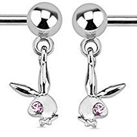 Playboy Bunny with Gemmed Eyes 14g Double Dangle Nipple Bar Rings - Sold as a Pair (Steel) (Pink Cz)