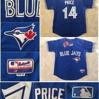 Player Toronto Blue Jays Baseball Jersey #14 David Price #20 Josh Donaldson Blue White Stitched Baseball Wear Athletic  s
