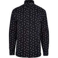 River Island MensBlack spindle print long sleeve shirt