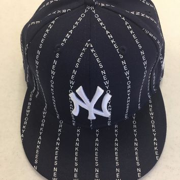 NEW ERA RETRO NEW YORK YANKEES WORDS PINSTRIPE 5950 FLAT BRIM FITTED HAT