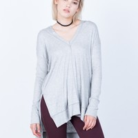Knit Hoodie Tunic Top