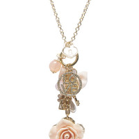 Pretty Flower Charm Long Necklace | Wet Seal