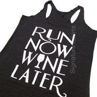 RUN Now WINE Later Tank Top Black, Workout Clothing, running Tanks, Gym Tank, marathon, Runners Tank Top, Workout Shirt, Fitness Tank top