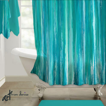 Shower curtain, Teal turquoise aqua blue, Abstract art design, Upscale Home decor, Designer bath, Bathroom, Artsy Modern Contemporary design