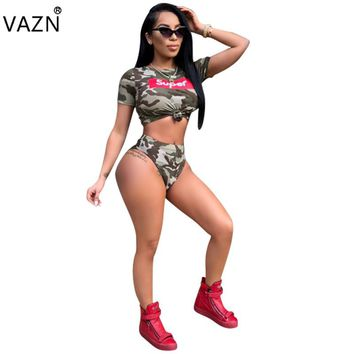 NEW Top Quality New 2018 Summer Bodysuit Short Sleeve Camouflage Swim Suit 2 Piece Sexy