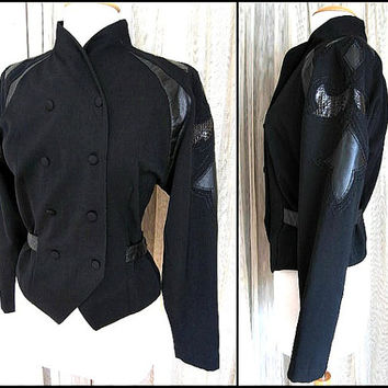 JENNA Snakeskin Leather Wool Jacket / fits S / Vintage Nipped Waist Jacket / New Wave Military Jacket / made in British Hong Kong