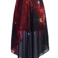 Chouyatou Pleated Chiffon Galaxy Cosmic Digital Printed Skirts