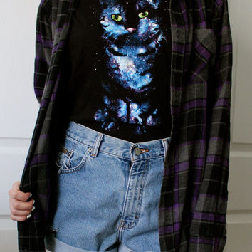 Mystery Hipster/Grunge Outfit - Upcycled High Waisted Shorts, Flannel, and Graphic Tee