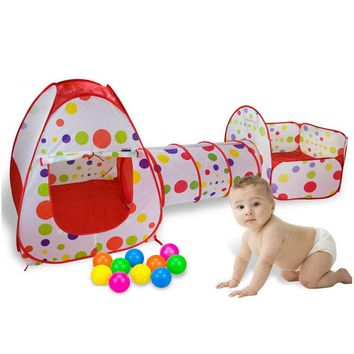 3 In 1 Fencing for Children Portable Baby Playpen Kids Ball Pool Foldable Pop Up Play Tent Playpen Fence Tunnel Play House