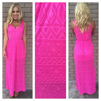 Diamond in the Sky Maxi Dress - FUSCHIA