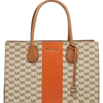 DCCKNY1 MICHAEL Michael Kors Women's Mercer Stripe Heritage Tote Bag Orange