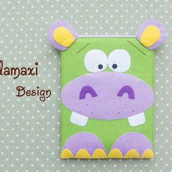 Handmade Felt Hippo iPad Pro Cover, Felt Hippo Kindle Sleeve Case, Handcrafted Hippo Kindle Case, Cute Custom iPad Cover