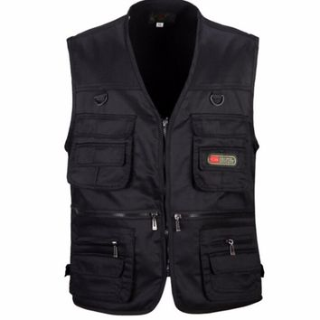 Mens Vest waistcoat casual Multi-pocket