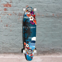 Graphic Kicktail Longboard - Tropical Night - 40 inch from Punked - Complete
