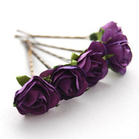 Deep Purple Rose Bobby Pins Bridal Flower Girl Wedding Hair Accessory Nature
