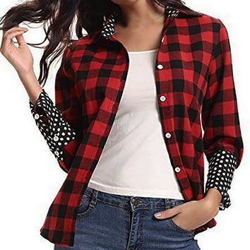 Women's Button Up Plaid Flannel Long Sleeve