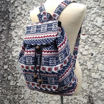 Big Boho Tribal Backpack Aztec Ethnic Hippies Ethnic Hobo Tapestry Bags Nepali Hipster Native Pattern Beach For School Laptop Messenger Tote