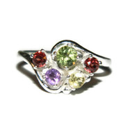 Multi Stone Dinner Ring, Cocktail Ring, Middle Finger, Right Hand