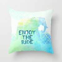 Enjoy the Ride Throw Pillow by Sara Eshak