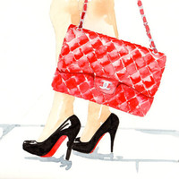 Red Chanel Flap Handbag & Louboutin pumps - Watercolor Fashion illustration